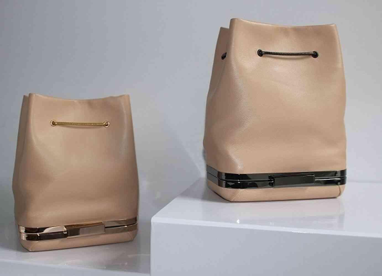 Mini Lambskin Drawstring Bucket Leather Bag