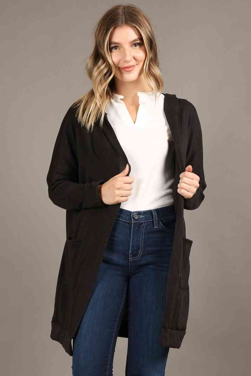 Soft Long Open Cardigan With Hoodie