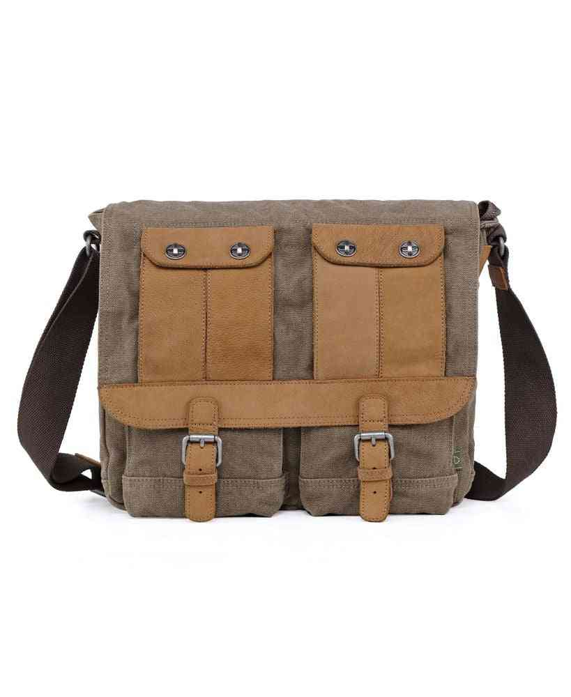 Valley River Leather Accents, Canvas Messenger Bag