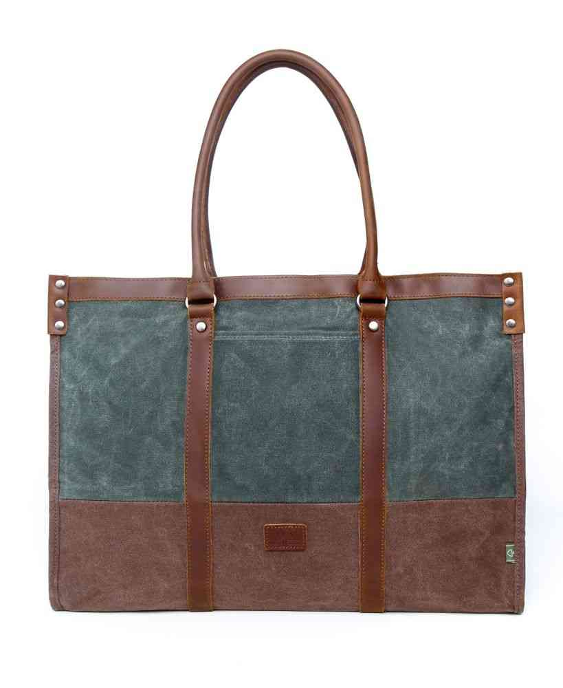 Stone Creek, Waxed Cotton Canvas, Genuine Leather Accents Tote Bag