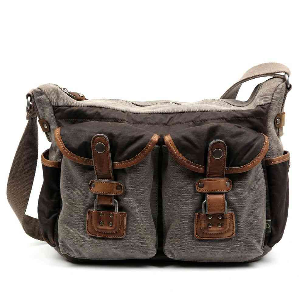 Embellished With Rugged Genuine Leather, Two-tone Canvas Bag
