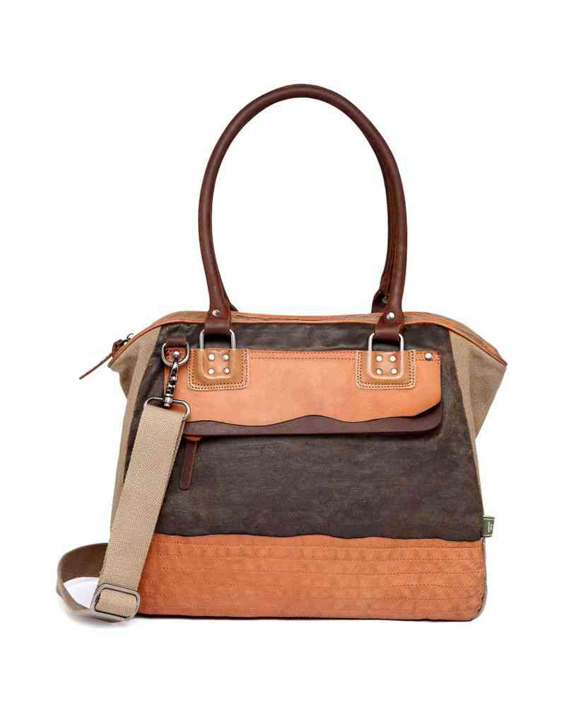 Rolled Handles, Two-tone Canvas Satchel Bag