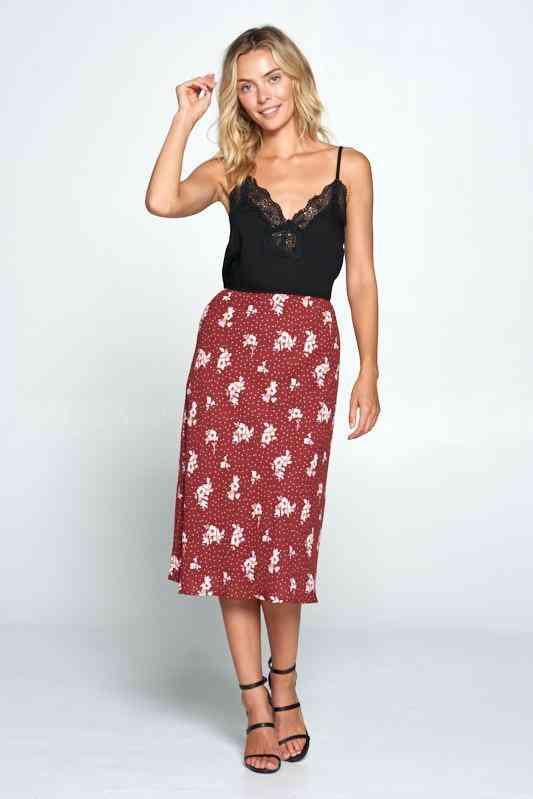 Floral And Polka Dot Midi Skirt
