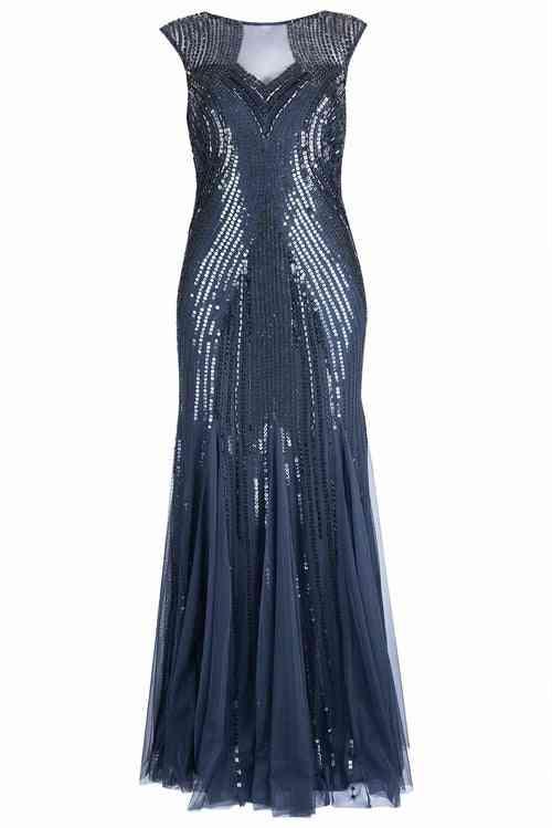Full Sequin Godet Gown