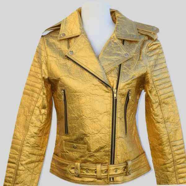 Gold Ellie Leather Biker Jacket