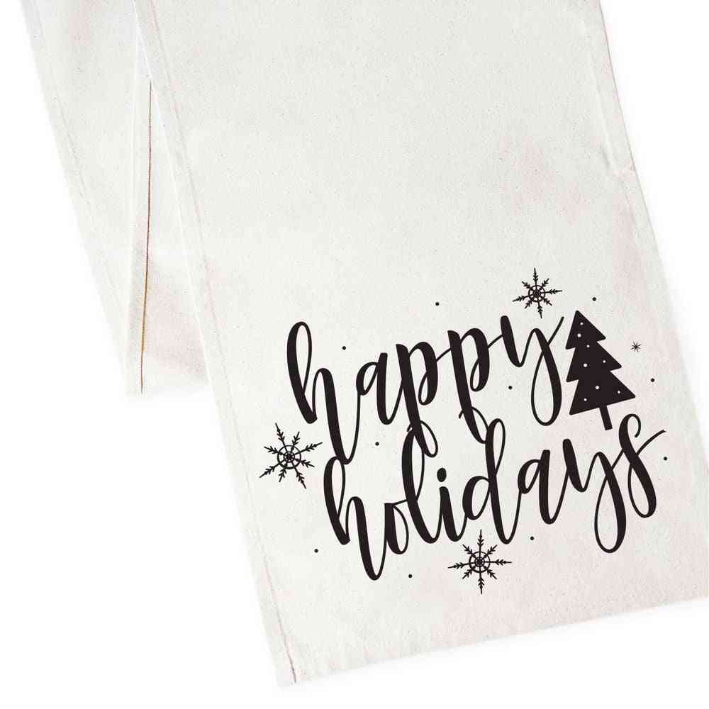 Happy Holidays-canvas Table Runner