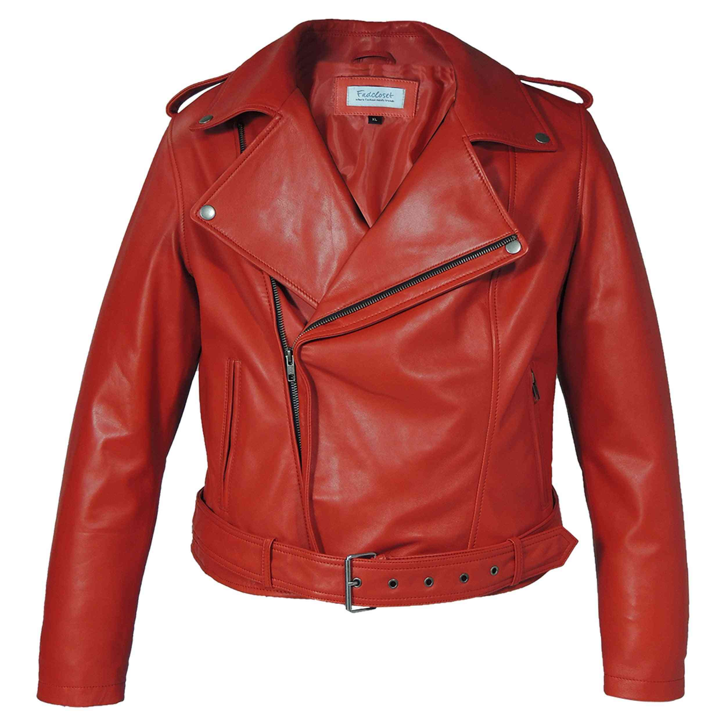 Women's Moto Red Sheep Leather Jacket