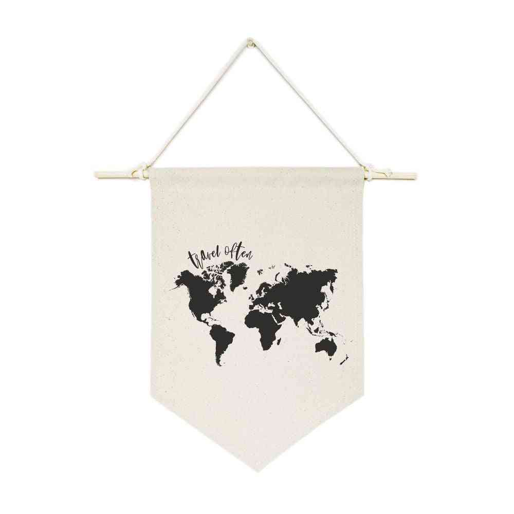World Map-hanging Wall Banner