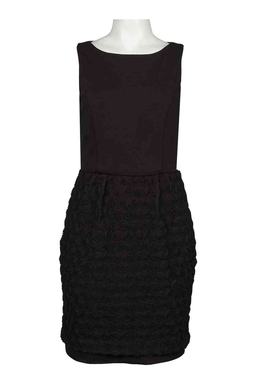 Two Piece Ponte Dress With Rosette Skirt