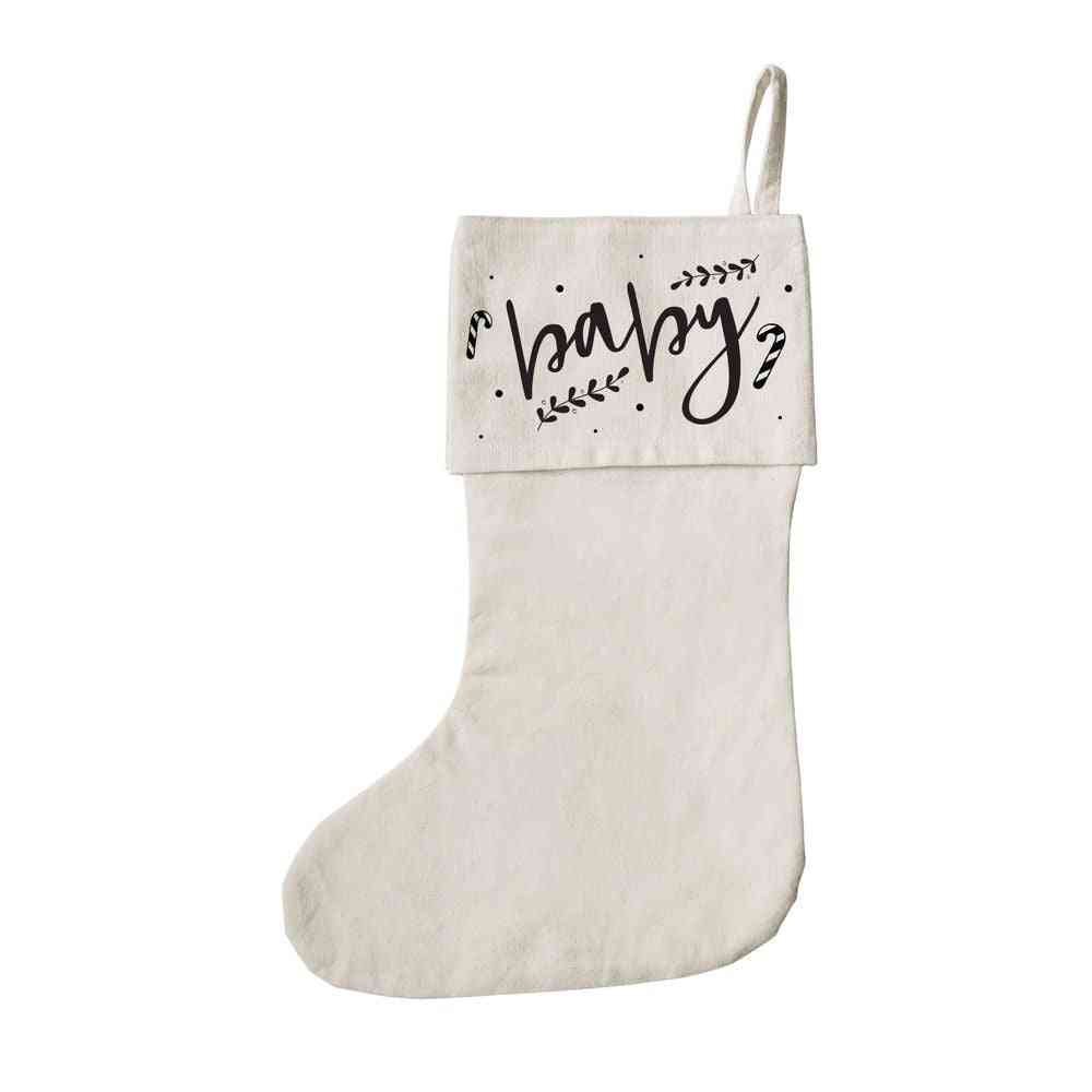 Baby Christmas Cotton Canvas Stocking