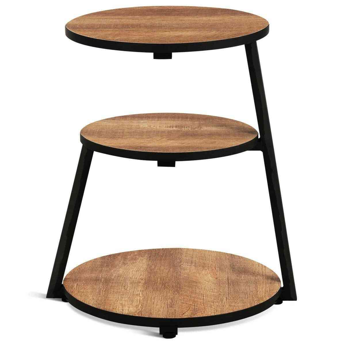 Round Shaped, 3-tier Sofa Side Table