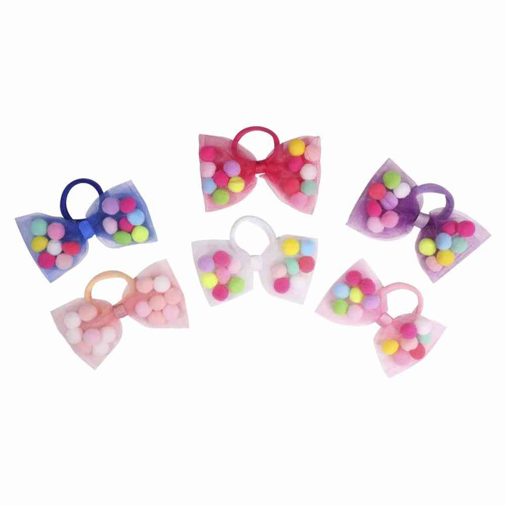 Bow Hair Tie With Soft Decorations
