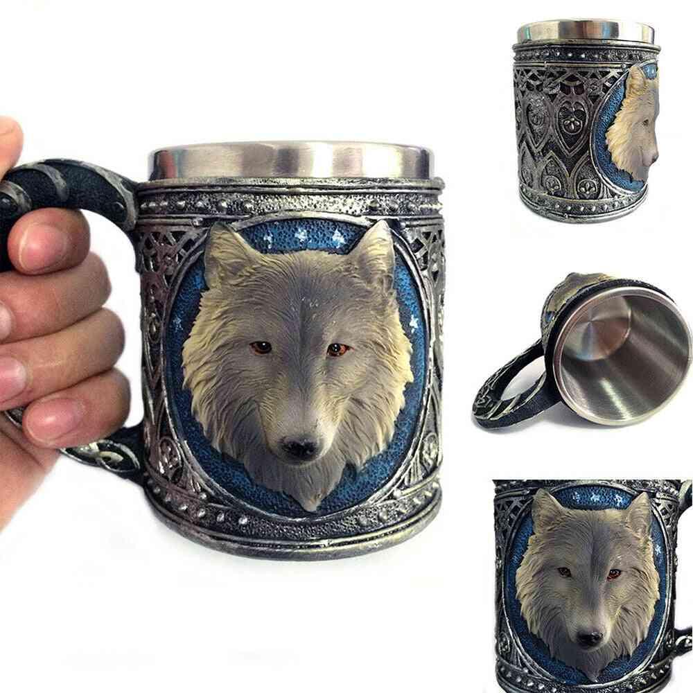 Stainless Steel 3d Wolf Design Drinking Mug