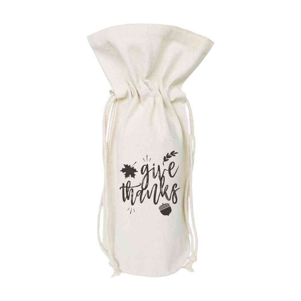 Give Thanks-canvas Wine Bag