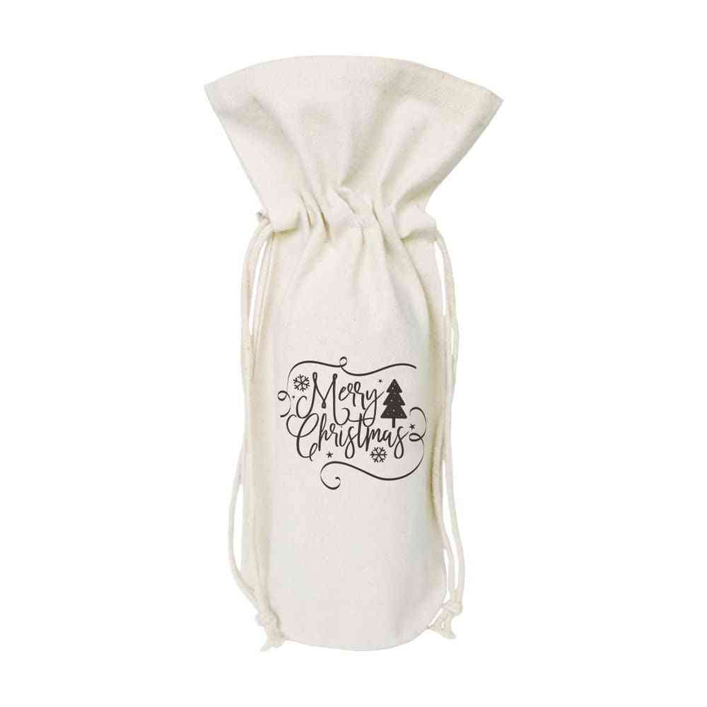 Merry Chistmas-cotton Canvas Wine Bag