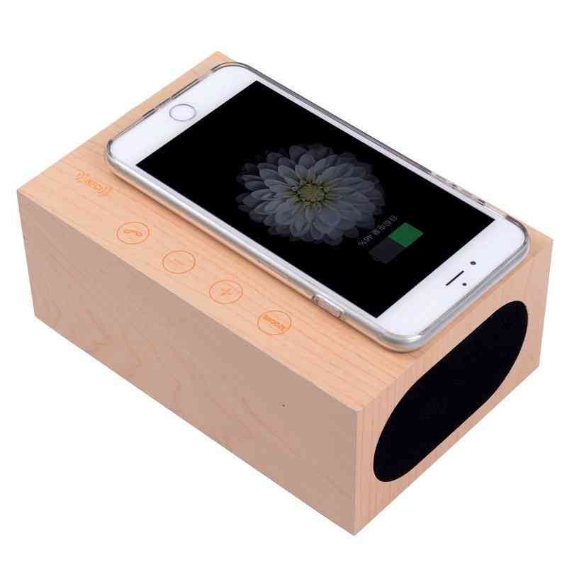 Wooden Qi Wireless Mobile Charger With Clock