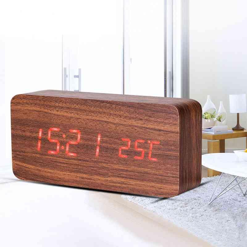 Teak Wooden Cuboid Led Alarm Clock