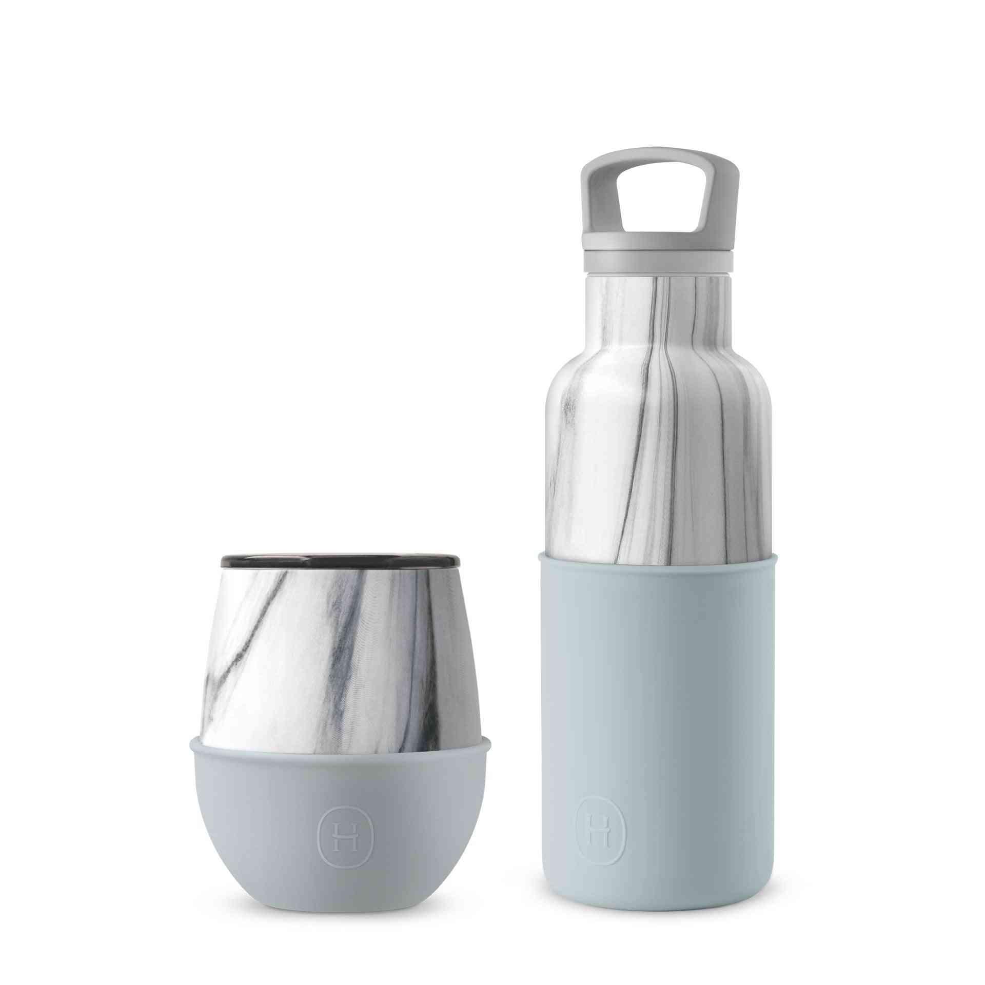 Marble Bottle And Tumbler Set