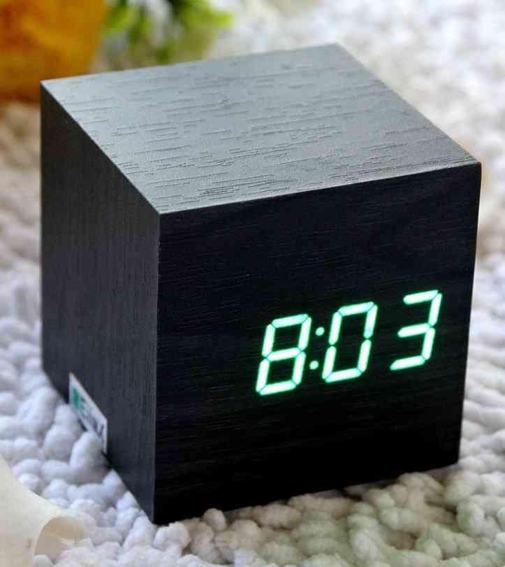 Wooden Cube Shaped-mini Led Digital Alarm Clock