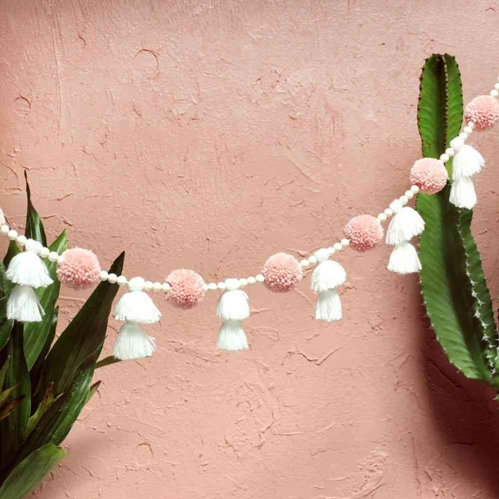 Handmade Garland With Pom-pom, Beads And Tassels