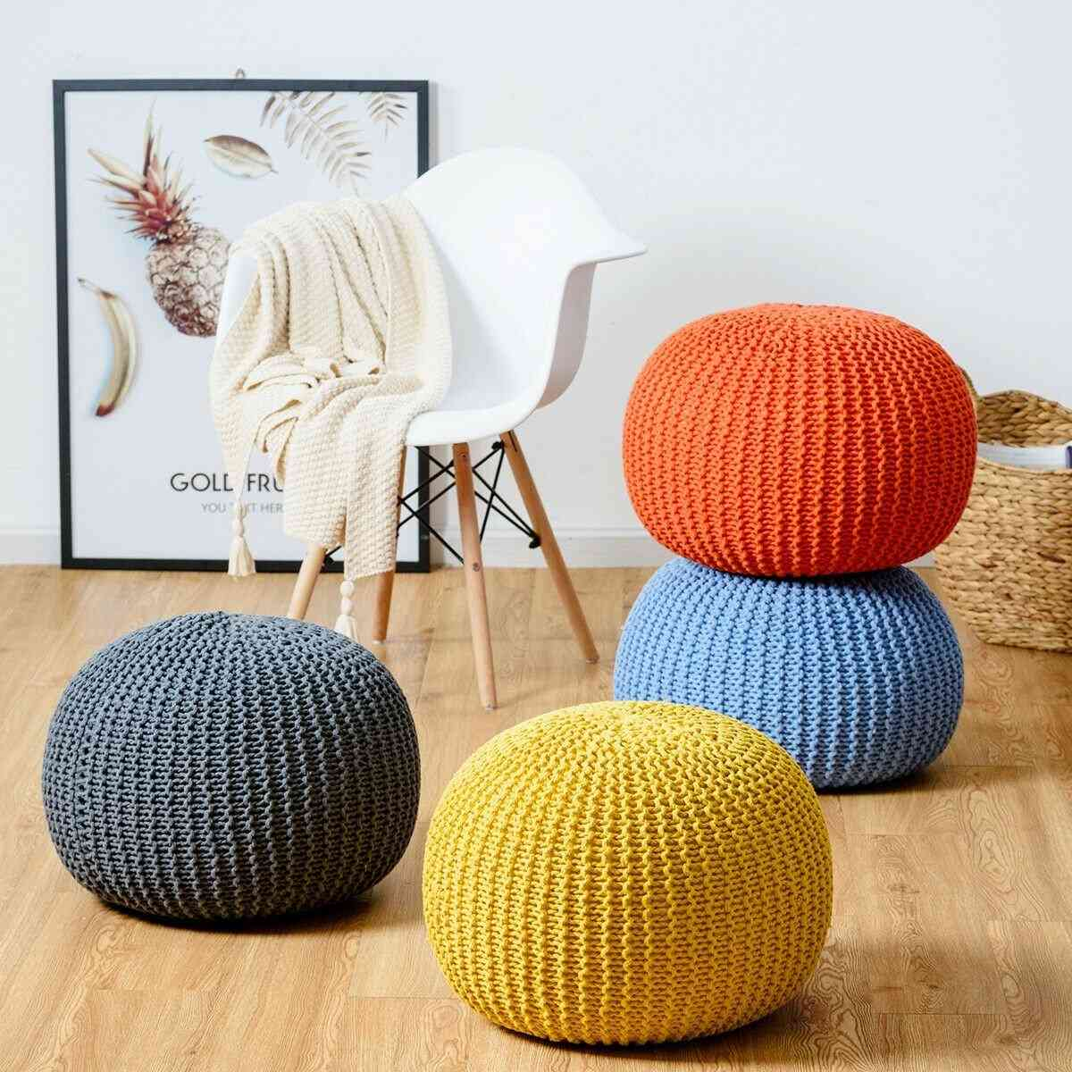 Cotton Exquisite Hand Knitted Pouf Floor Seating