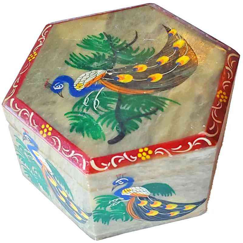 Peacock Soapstone Container