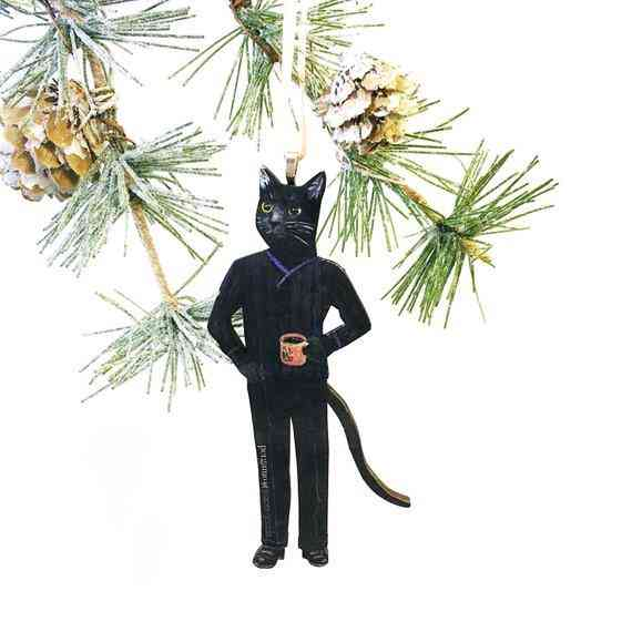 Black Coffee Cat Holiday Ornament