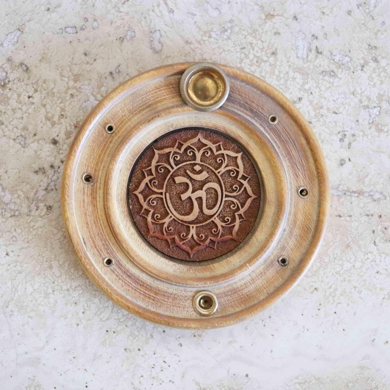 Om In Papri Wood-incense Holder