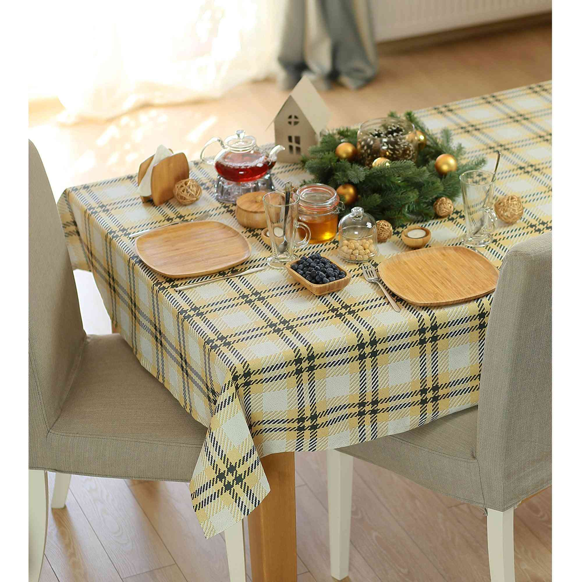 Merry Christmas Square Printed Decorative Tablecloth