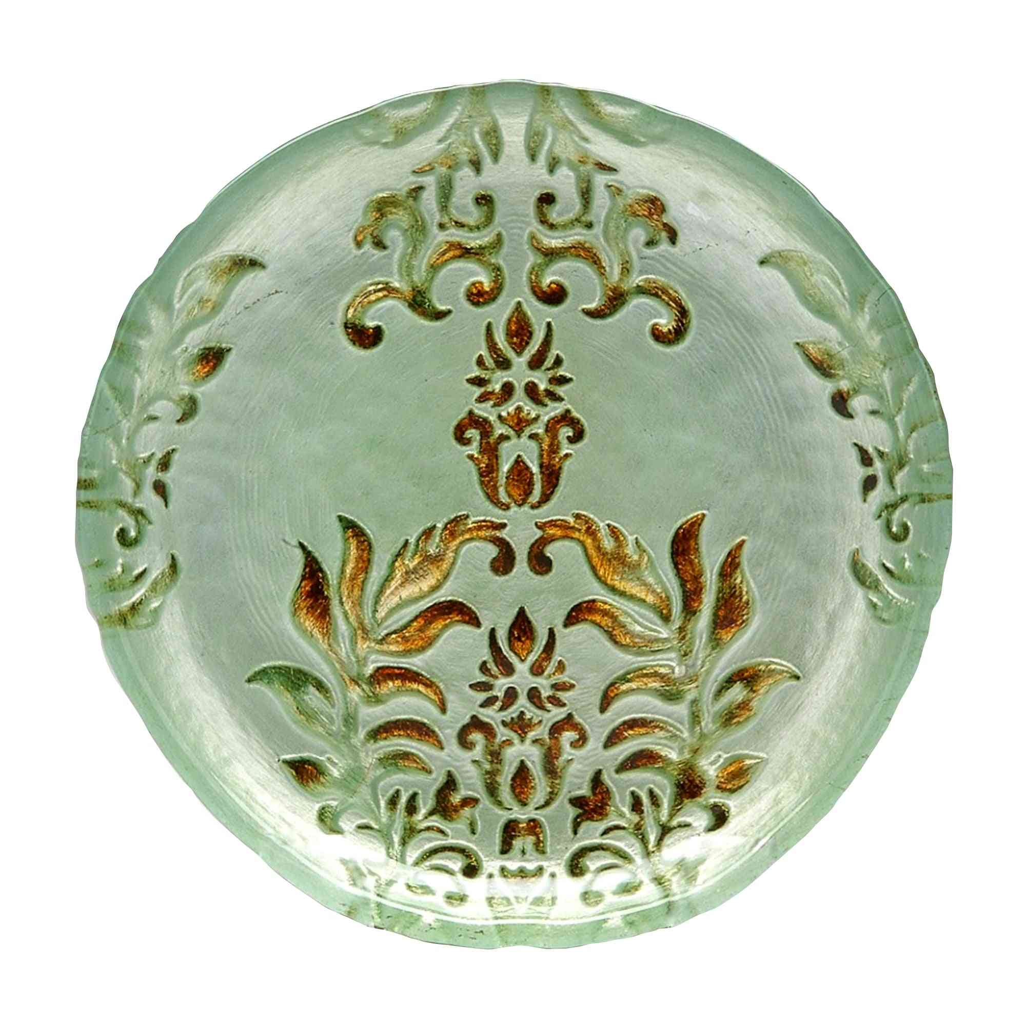 Turquoise Gold Gilded Glass Plates