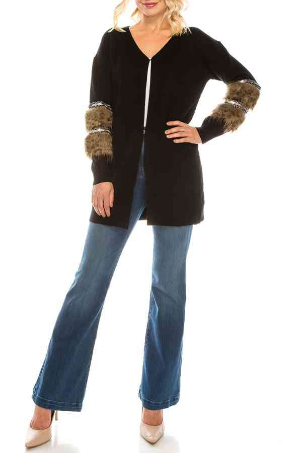 Viscose Knit Cardigan With Faux Fur & Sequin Trims