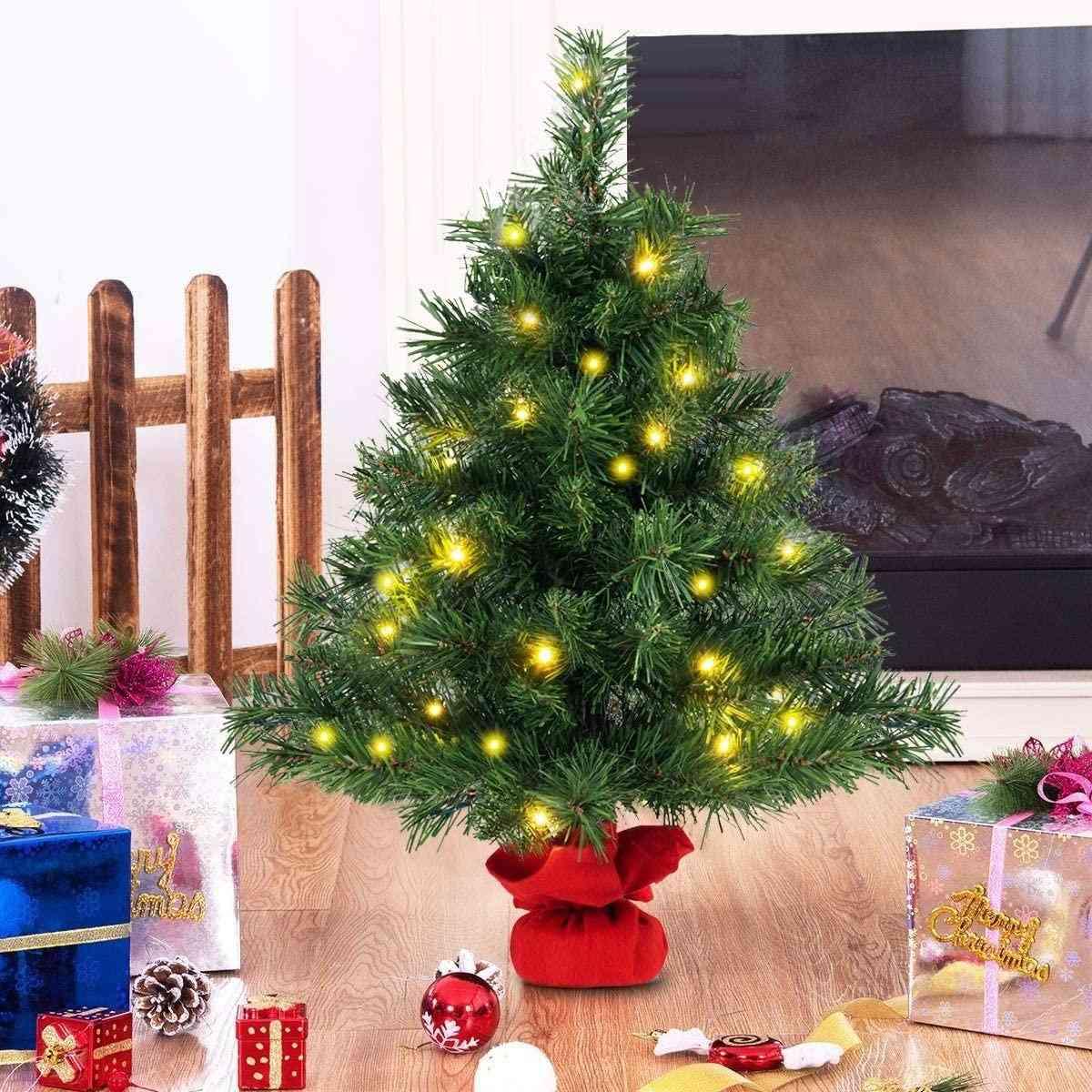2 Ft, Tabletop Fir, Artifical Led Lights Christmas Tree
