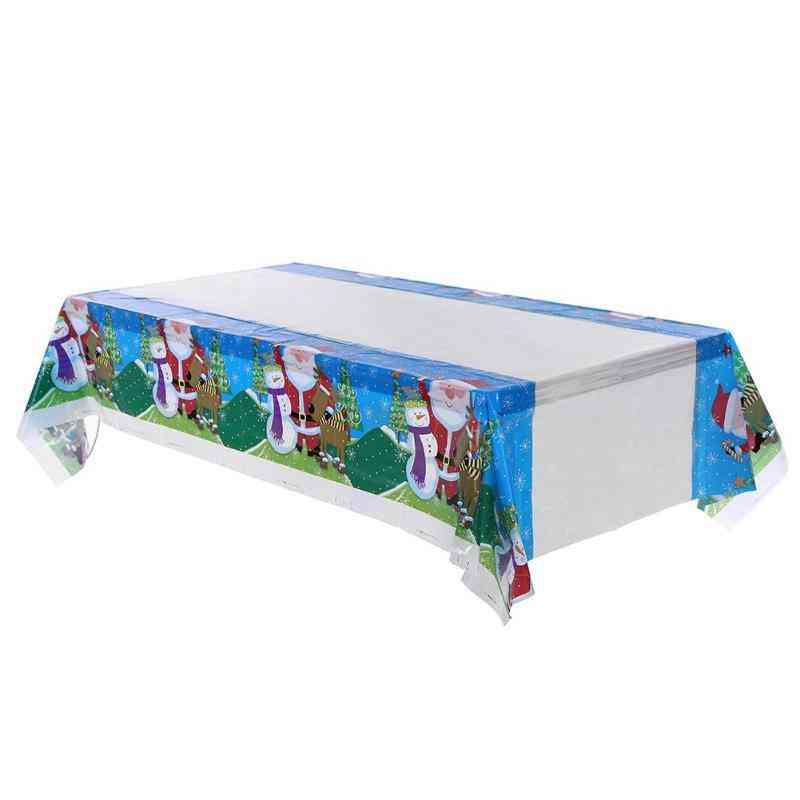 Disposable Merry Christmas Printed Pvc Tablecloth