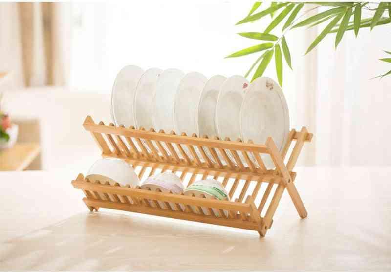 Natural Bamboo Folding Dish Rack
