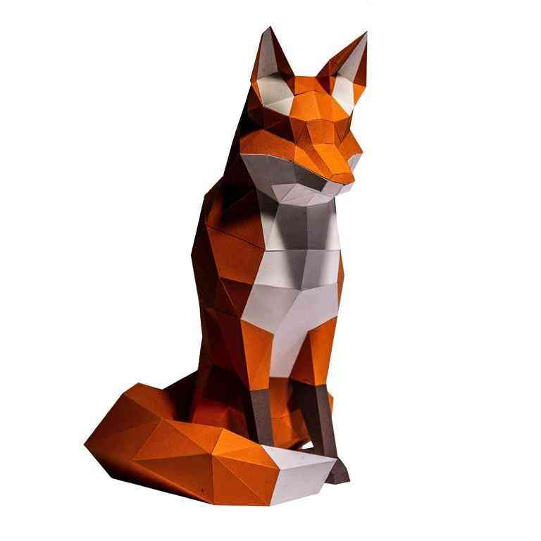 Fox Paper Model Craft For Decorations