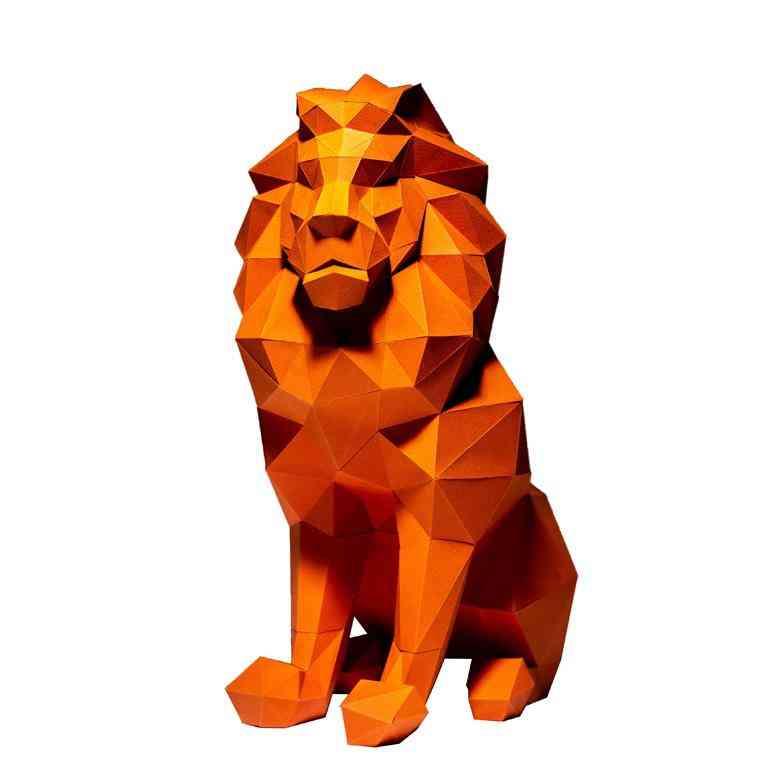 Lion 3d Pre-cut, Paper Craft Model For Decorations