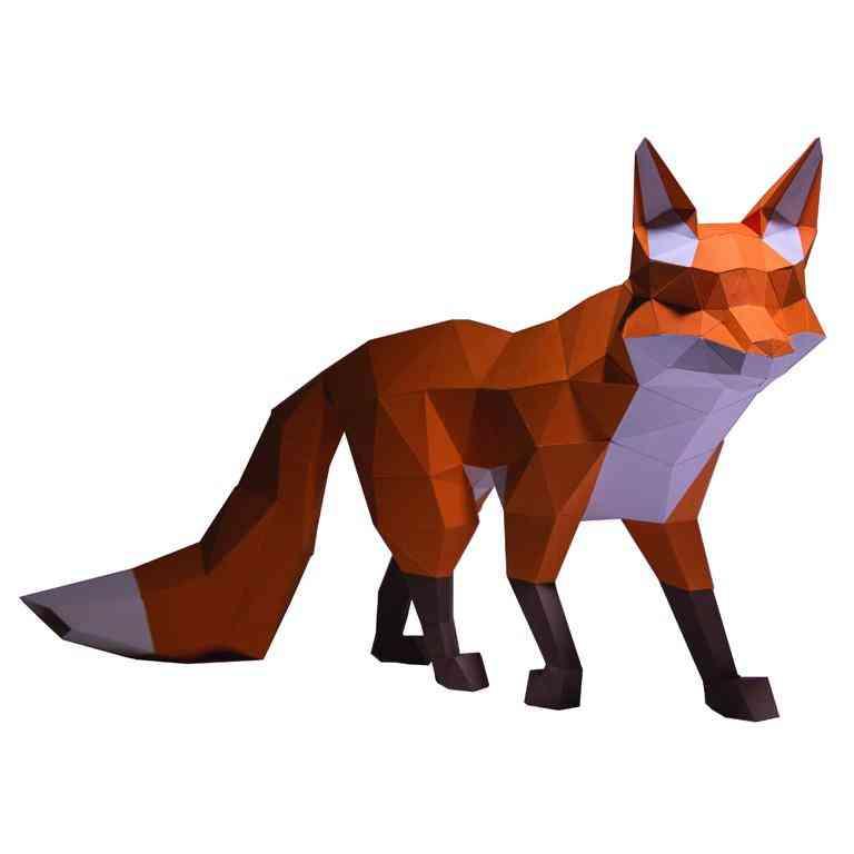 Walking Fox 3d Paper Model