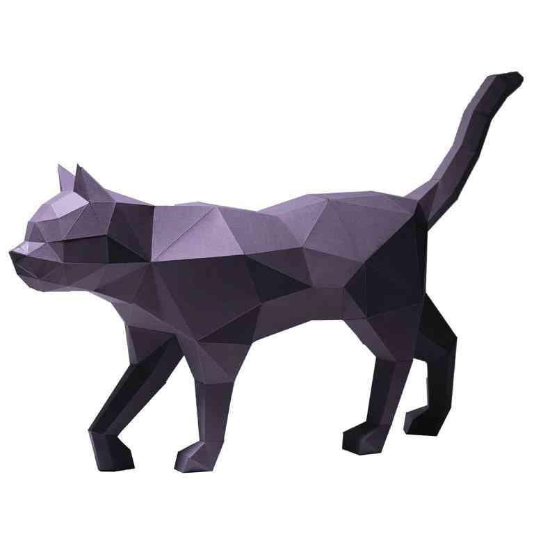 3d Paper Craft Black Cat Model