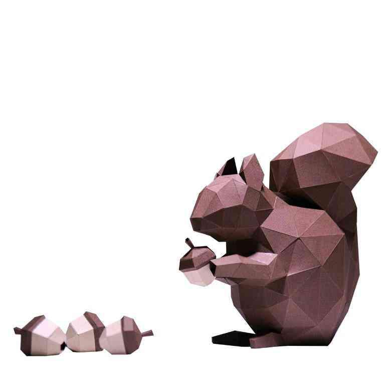 3d Paper Craft Squirrel Model