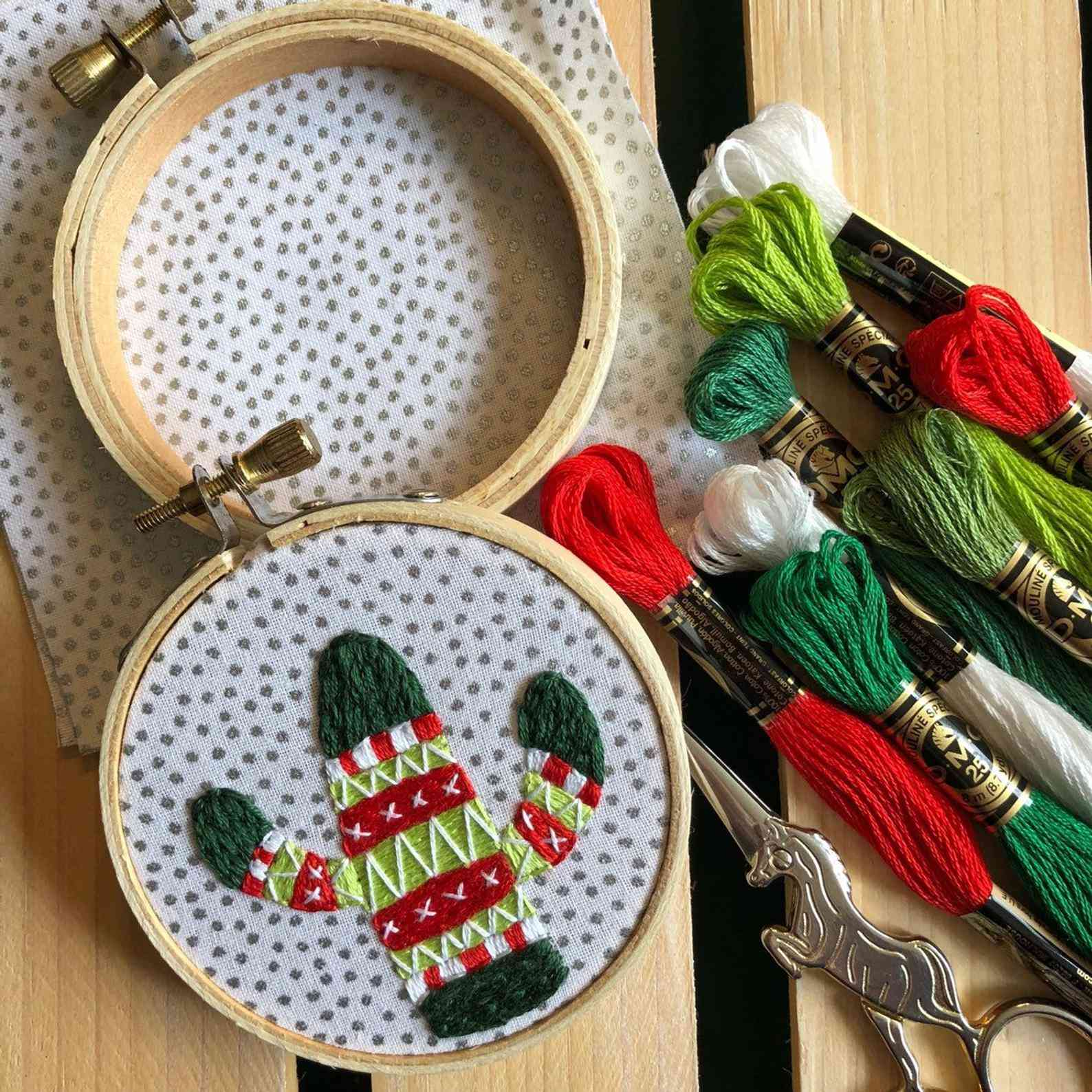 Holiday Sweater Cactus Ornament-diy Hand Embroidery Kit