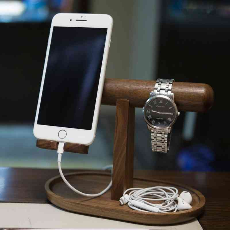 Wooden Organizer For Phone, Watch And Jewelry