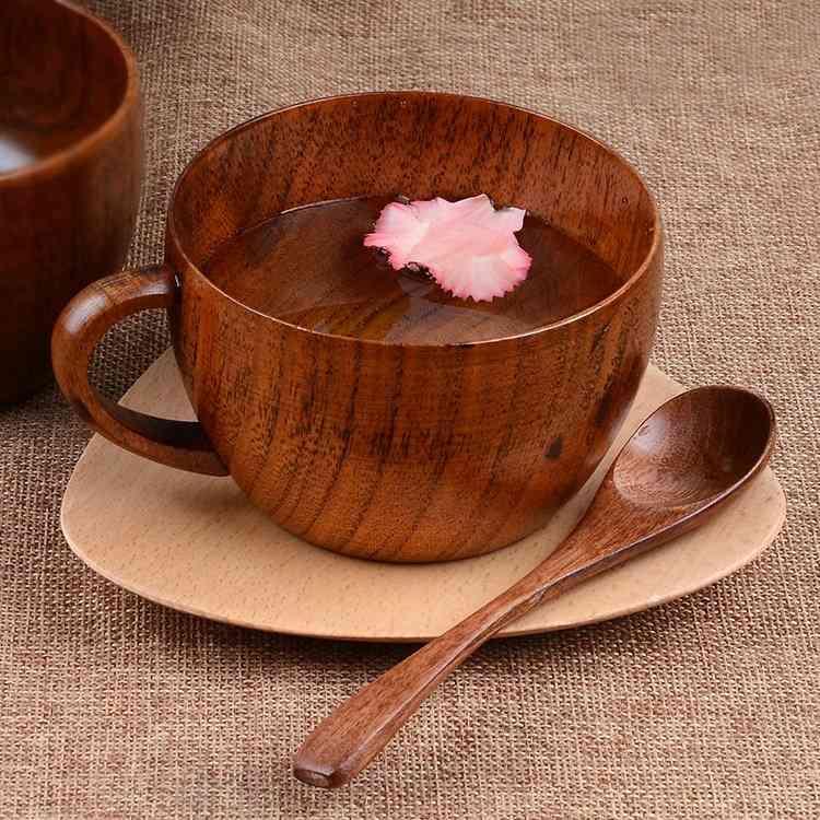 Wooden- Coffee Mug And Spoon Set