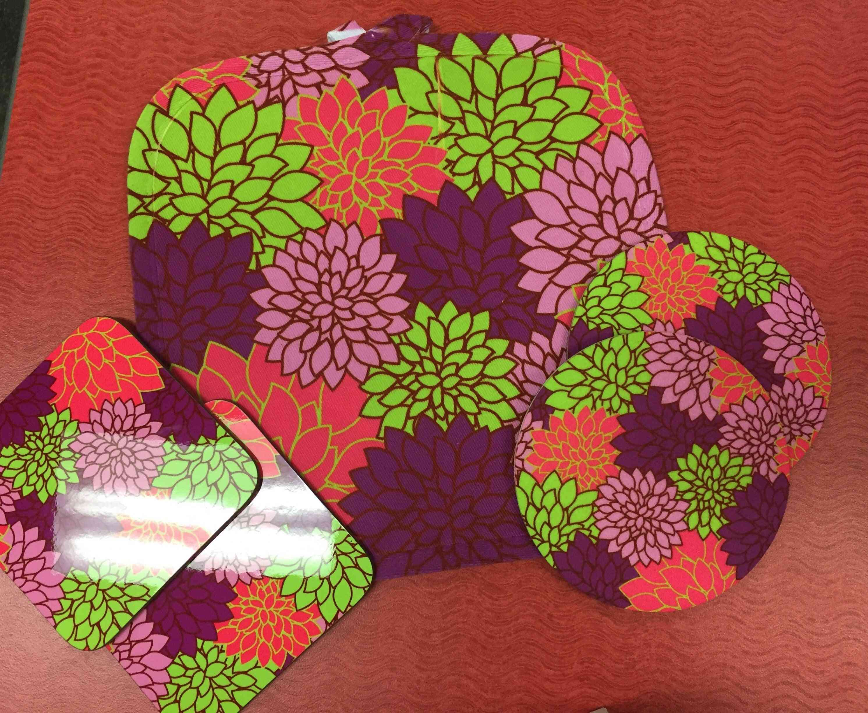 Vibrant Floral Kitchen Set-pot Holder And Coasters