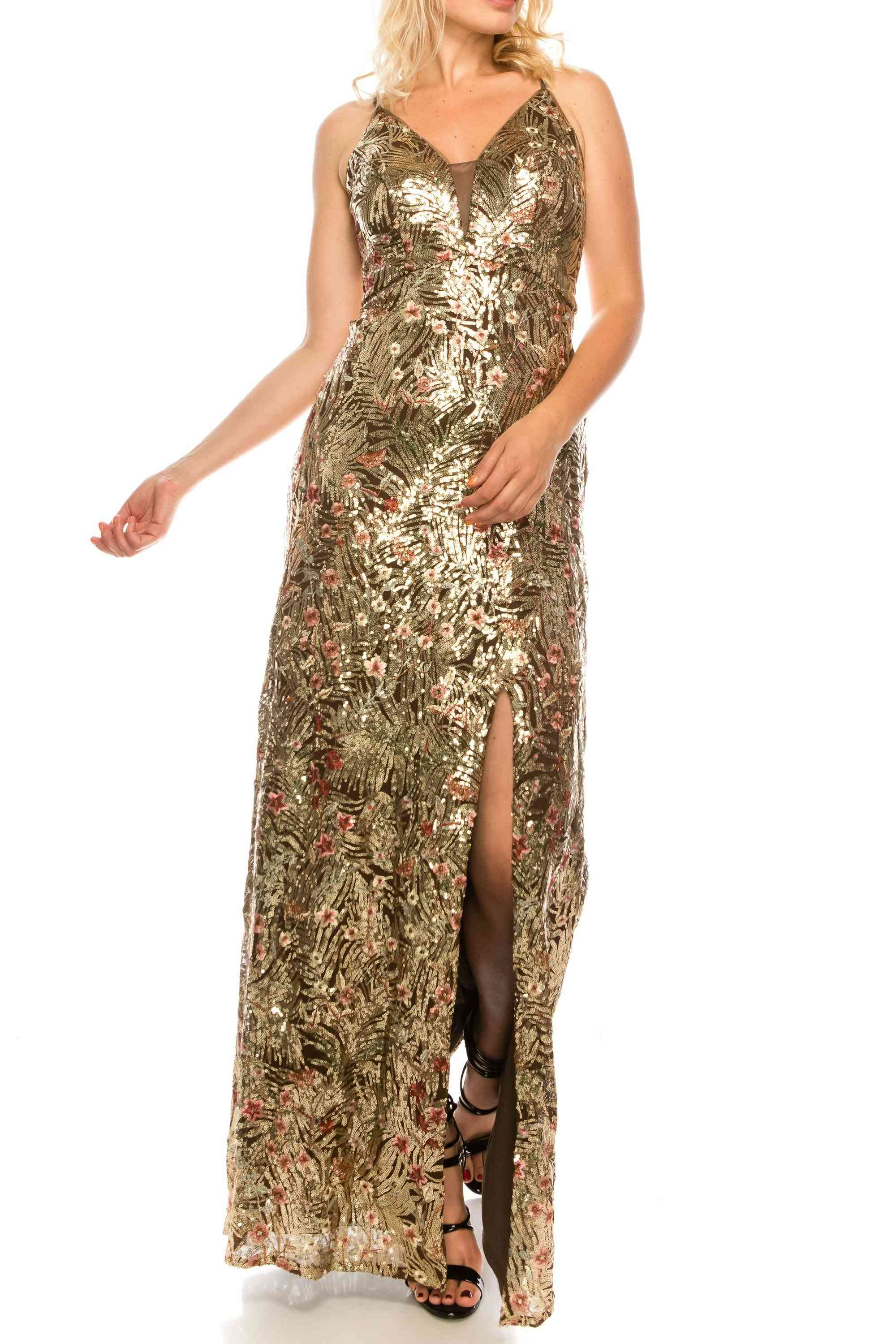 Sequined & Floral Embroidered Strappy Plunge Gown