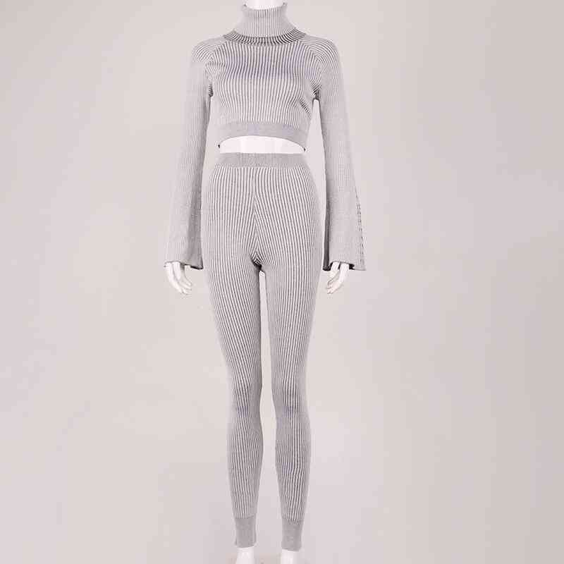 Two Piece Set- Knitted Flare Sleeve, Crop-top Stretch, Slim-fit Pants
