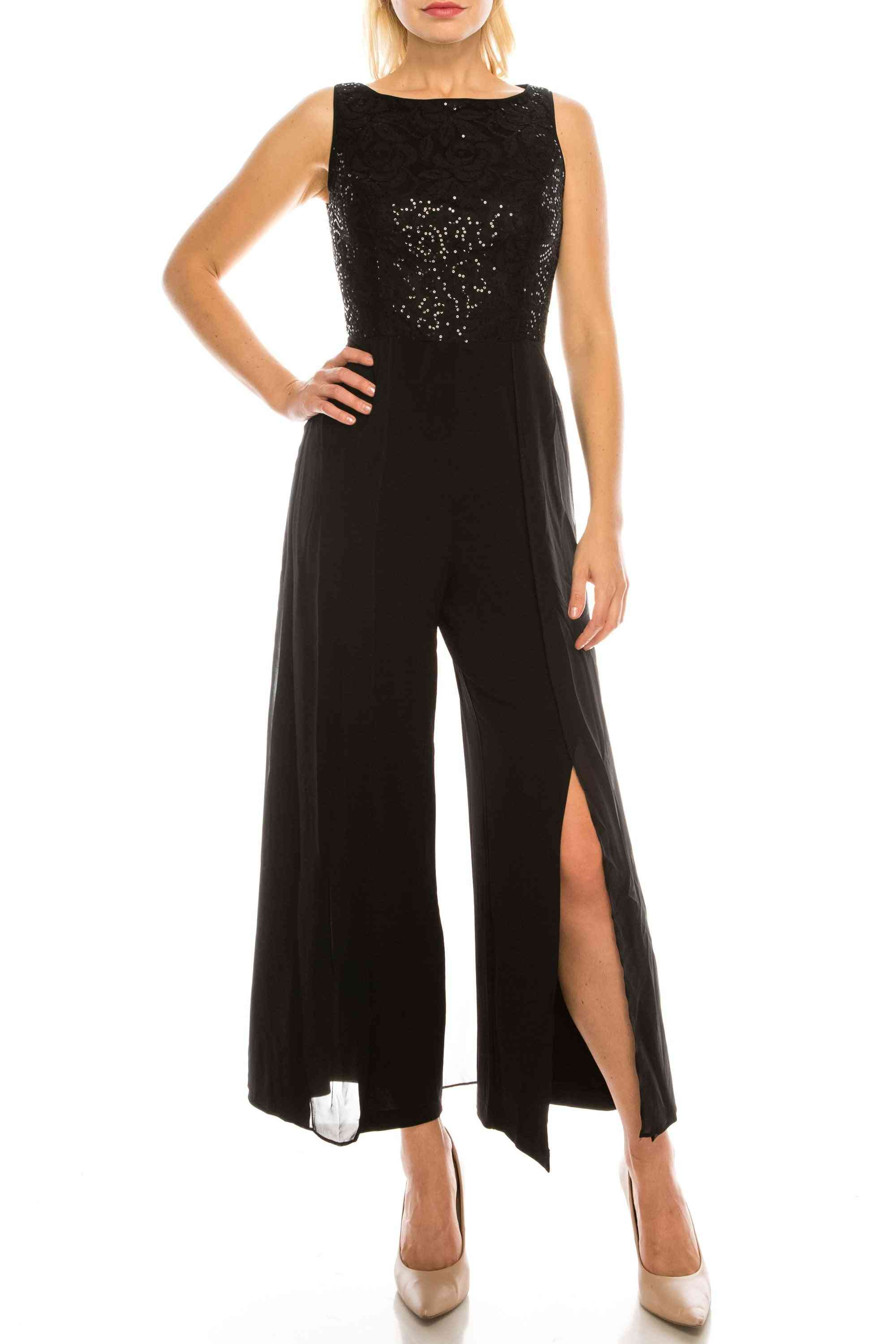 Layered Jumpsuit With Sequined Lace Bodice