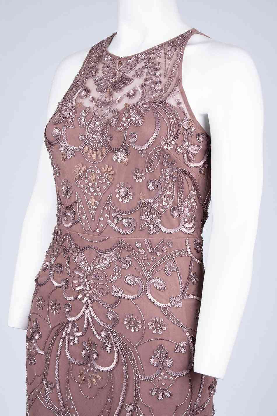 Sleeveless Beaded, A-line Gown Dress