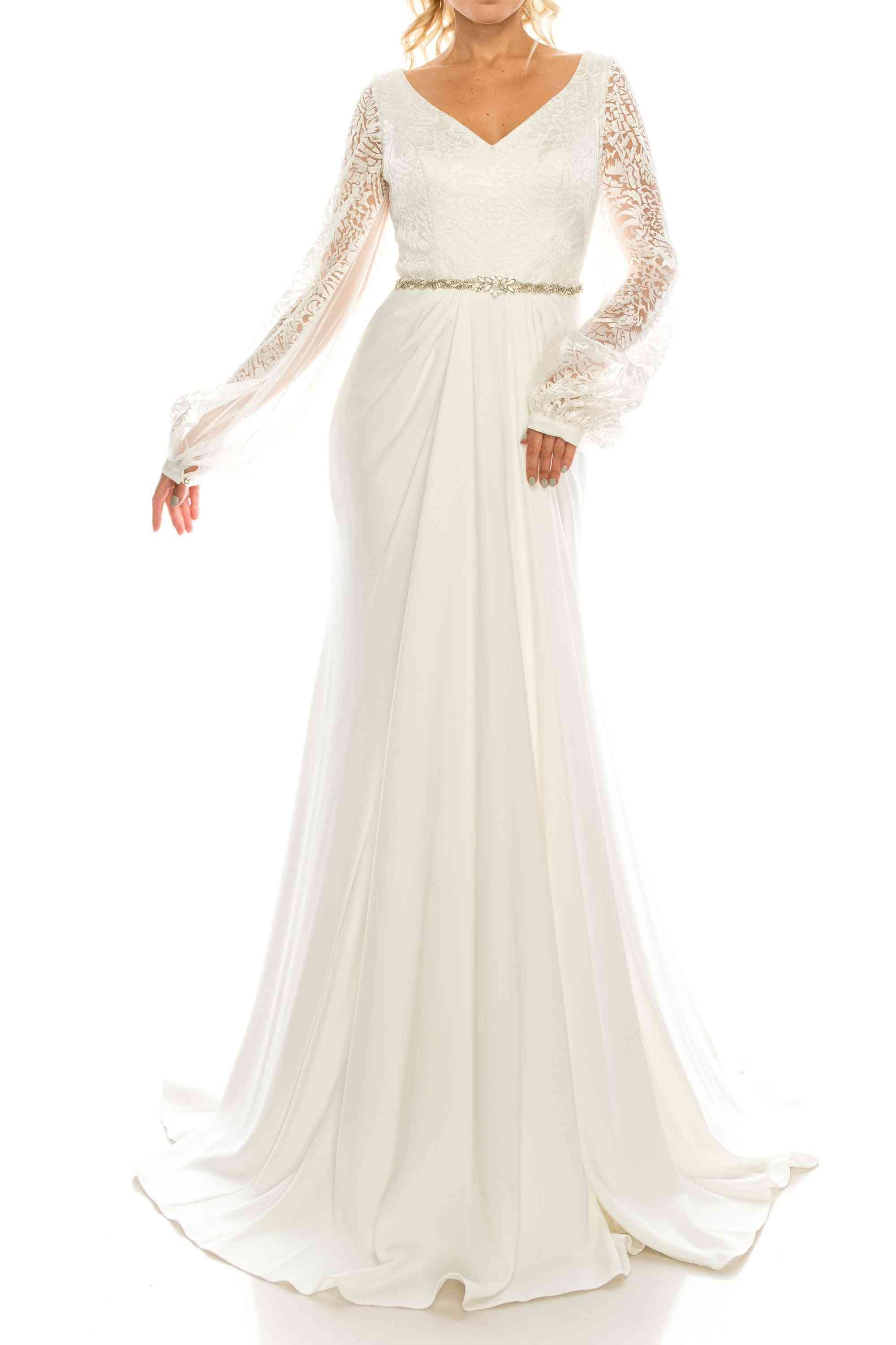 Embroidered Mesh Jacquard & Crepe Evening Gown