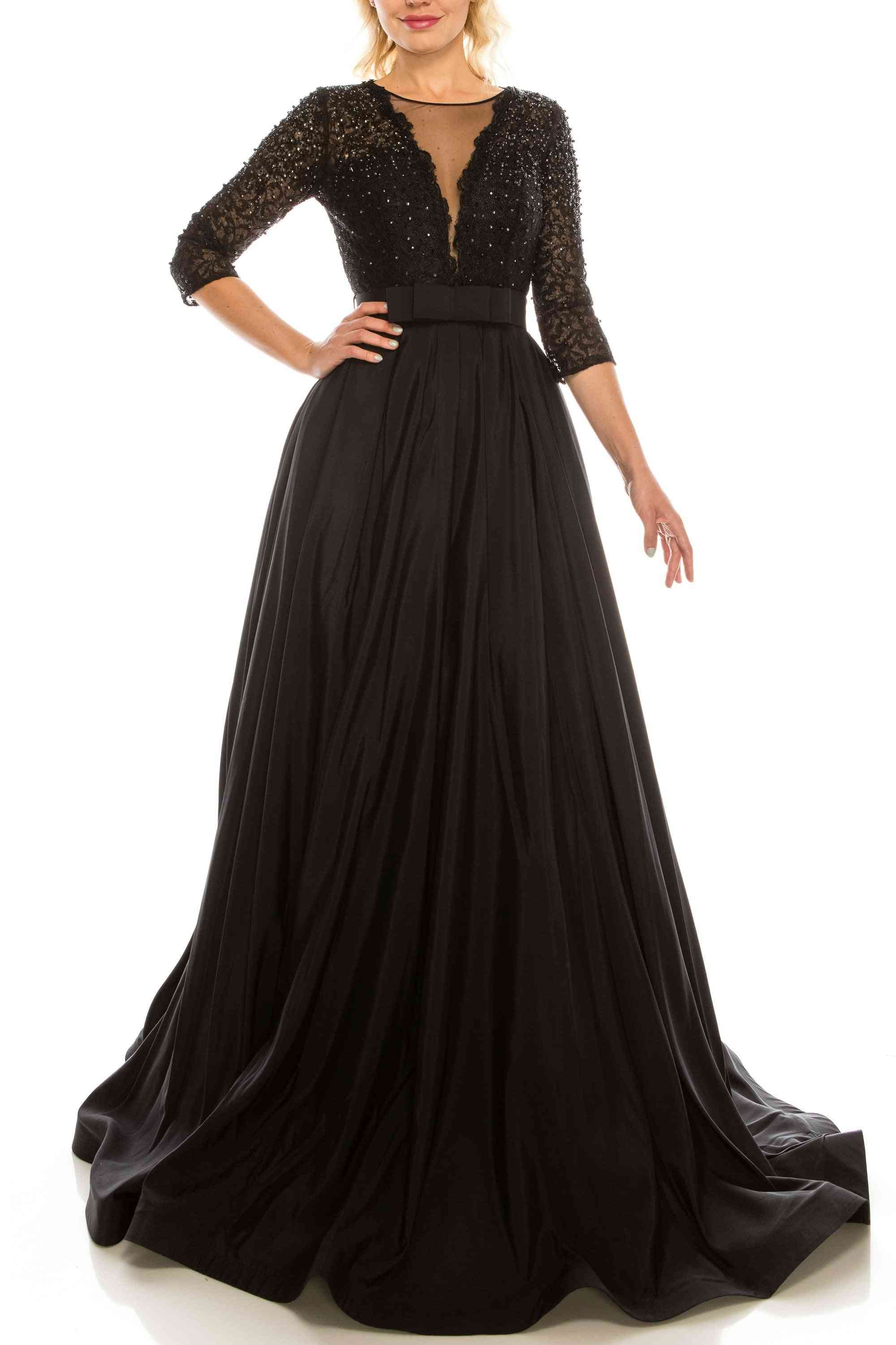 Embellished Mesh & Taffeta A-line Evening Gown