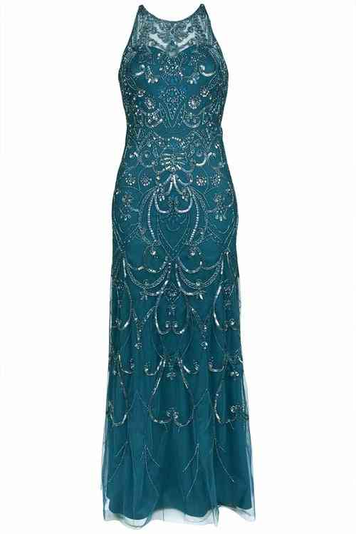 Sleeveless Beaded, Sequin Embellished Gown Dress